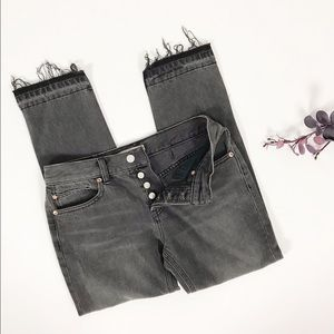We the Free Button Fly Raw Hem Grey Black Jeans